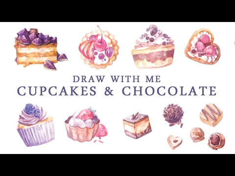 Speed Painting | Sweets & Cupcakes Watercolor Stickers