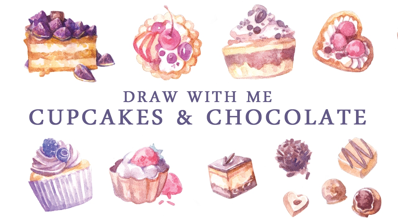 speed painting sweets   cupcakes watercolor stickers clip art pancake breakfast clip art cupcakes free