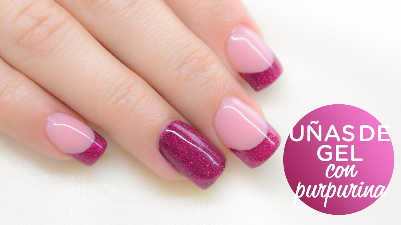 U as de gel decoradas con purpurina nailart glitter for Decoracion de unas con esmalte