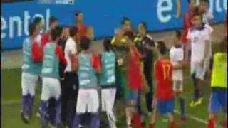 PLAYERS FIGHT SPAIN - CHILE INTERNATIONAL FOOTBALL FRIENDLY