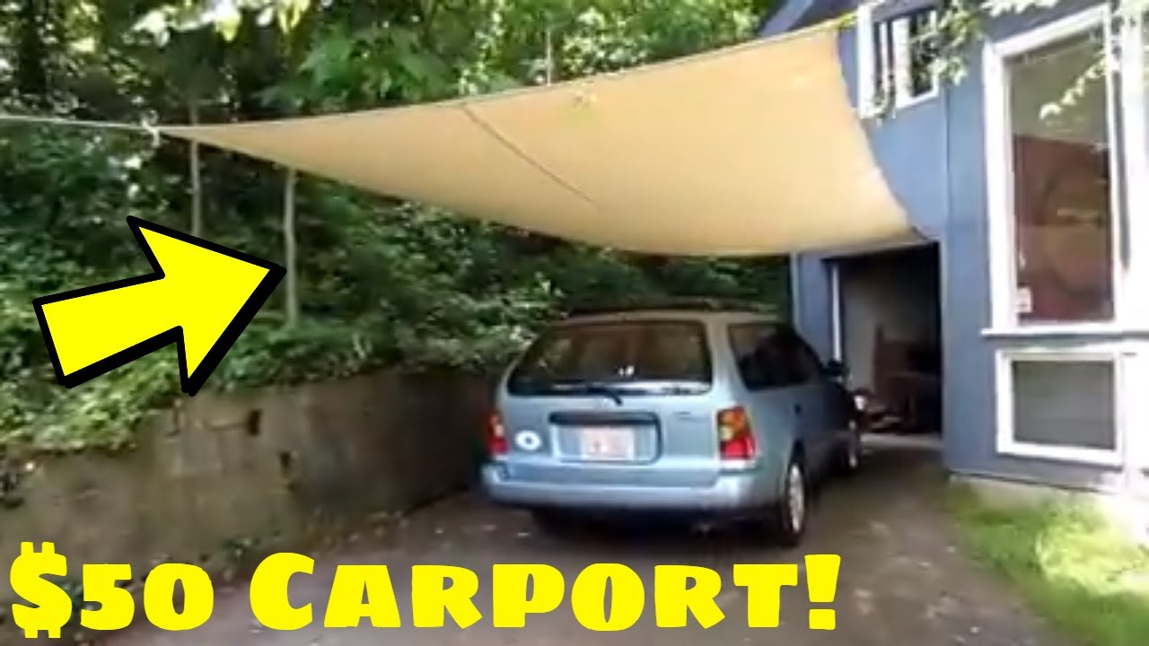 50 carport how to make a homemade carport cheap youtube for Cheapest way to build a garage