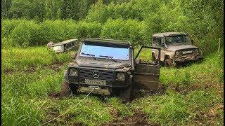 оффроад гелендваген на тракторных колесах/ kia Sportage / 4 УАЗа. Оффроад.