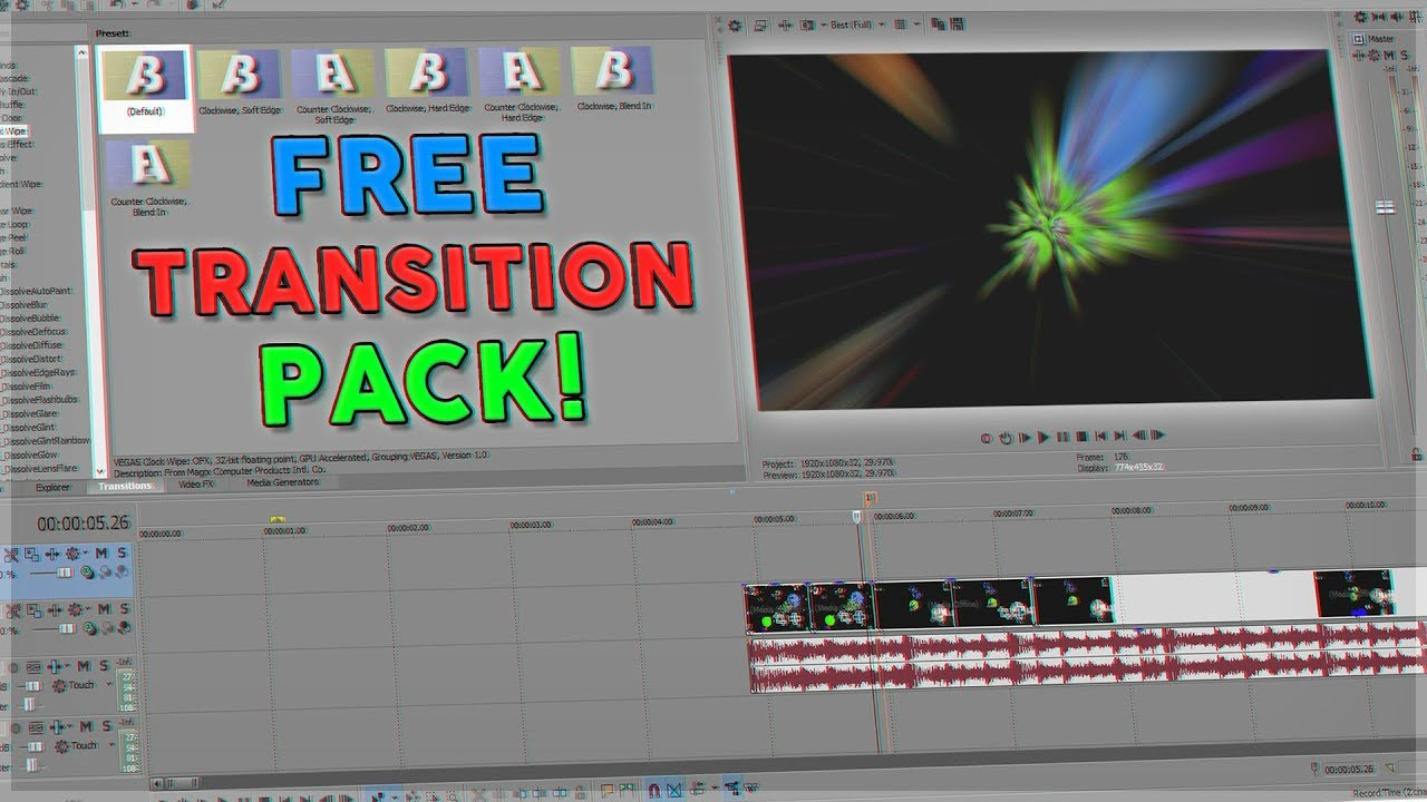 FREE SONY VEGAS PRO TRANSITION PACK!!