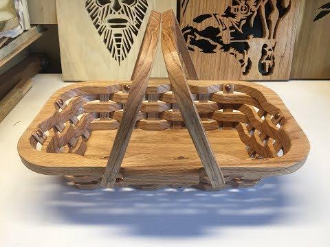 A woven picnic basket made of oak