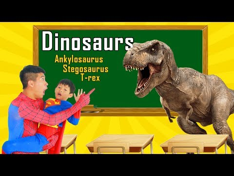 Thumbnail: School colors Superman spinner toys in Classroom w/ Spiderman & Joker paint Dinosaurs Learn Color