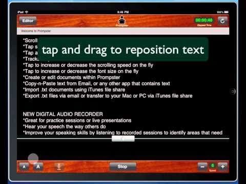Teleprompter Software, iPad Public Speaking App, Prompster