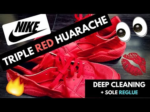 Nike Triple Red Huarache Deep Cleaning + Sole Reglue. Using Reshoevn8r and Barge Cement