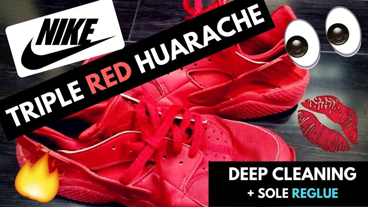 Nike Triple Red Huarache Deep Cleaning