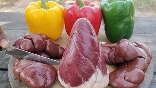 Heart and Kidney!! Simple Cow Kidney and Heart Cooking with Bell Pepper