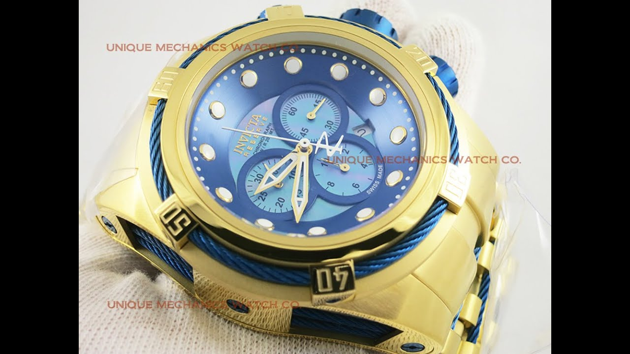 74b03148d Invicta Watch 12742 Bolt ZEUS Reserve Gold BLUE Mother of Pearl Chronograph