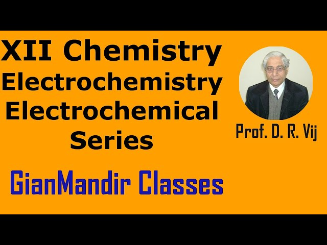 XII Chemistry | Electrochemistry | Electrochemical Series by Gourav Sir