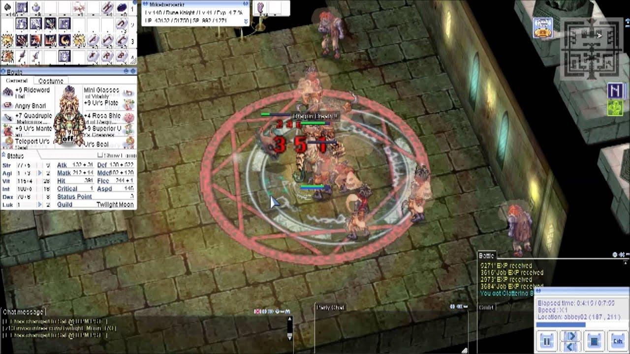 Ragnarok Online Rune Knight Vs Nameless Mob Rideword Hat 4x