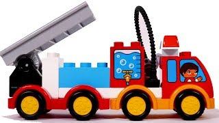 Building a Big Fire Truck with Blocks Playset for Children and Kids Compilation Video