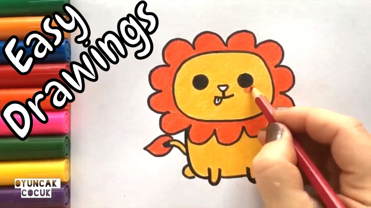 Easy Drawings For Kids Cute Baby Lion Paint And Draw Step By Step