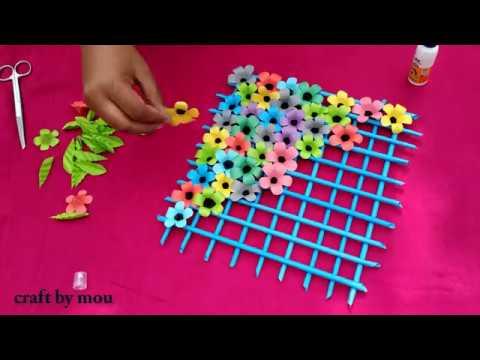 How to make craft paper flower wallmet l 🌺�kagojer ful banano o sajano l