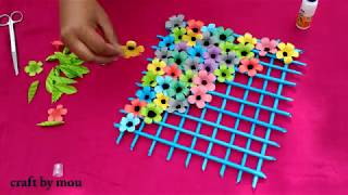 How to make craft paper flower wallmet l kagojer ful banano o sajano l
