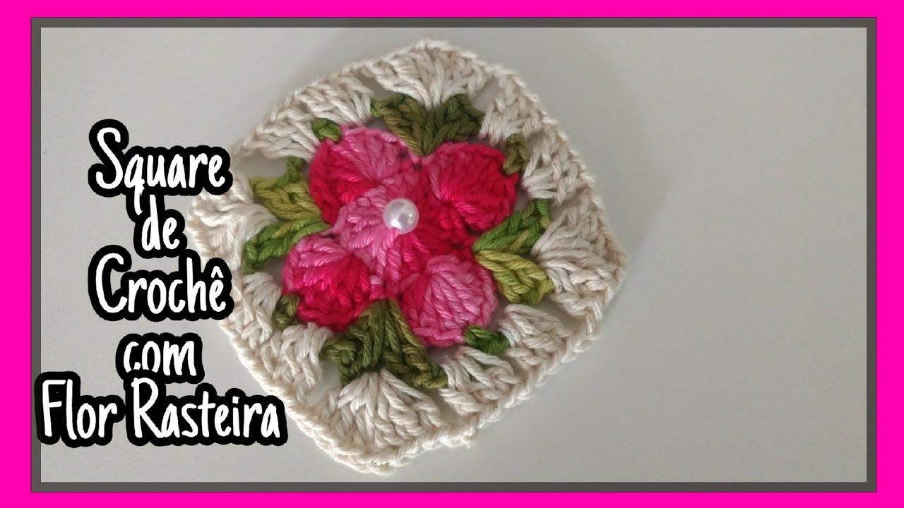Tapete Com Square De Flor Rasteira E Pontos Diferentes Estilo Onda Parte 1 Youtube Crochet Flower Tutorial Crochet Flowers Crochet Squares