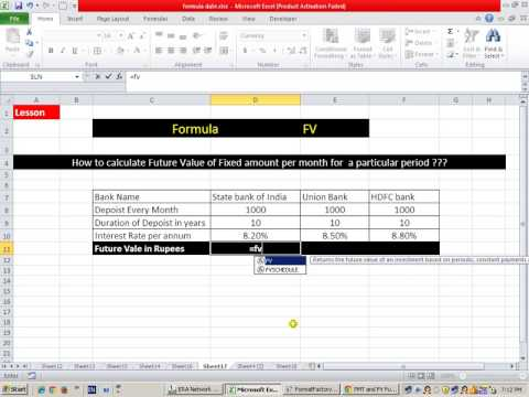 MS Excel FV Future Value Formula in marathi by vikrant manore Ms Excel ...