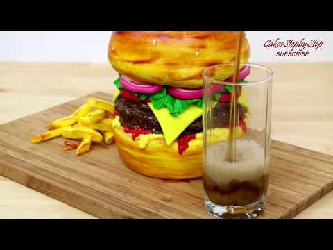 How To Make A BURGER CAKE  By CakesStepbyStep
