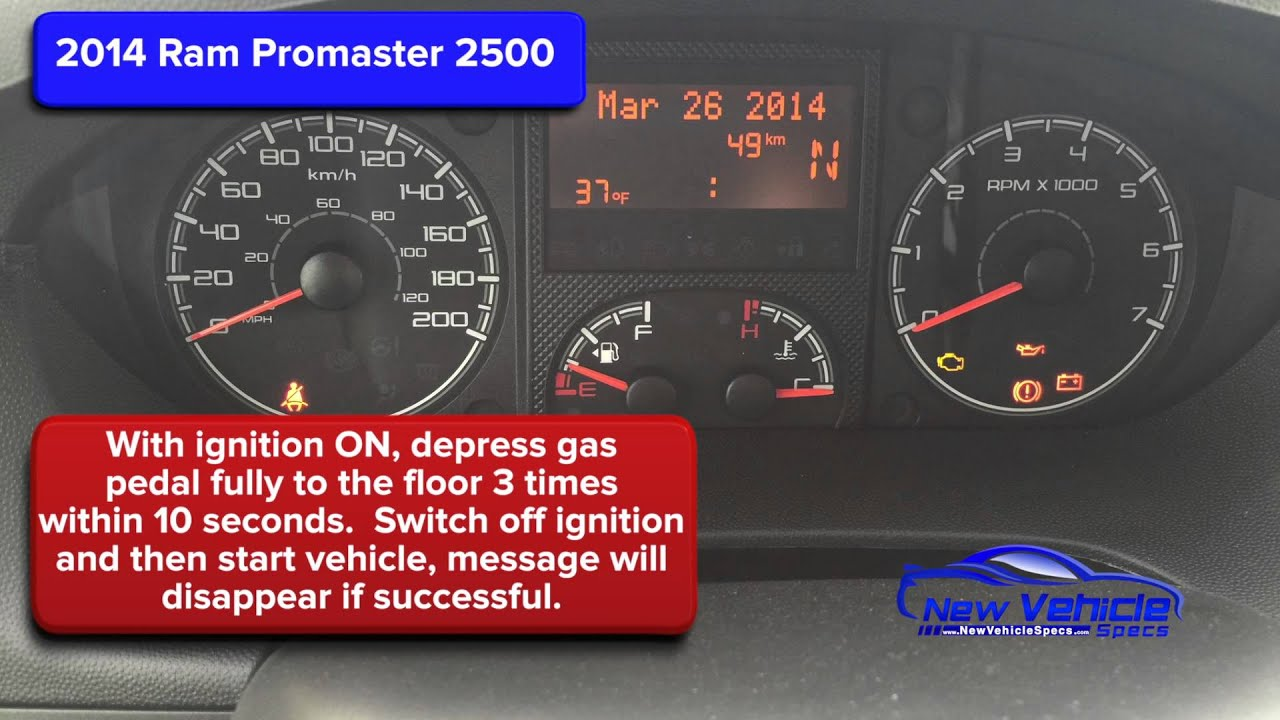 2014 ram promaster 2500 oil light reset service light reset [ 1280 x 720 Pixel ]