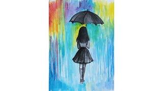 Как нарисовать РАЗНОЦВЕТНЫЙ ДОЖДЬ  и девушку с зонтом | Уроки рисования | Art school