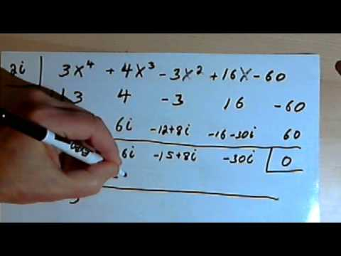 Synthetic Division With Imaginary Numbers  143-3.6.1.b