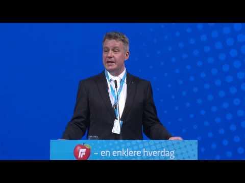 Per Willy Amundsen tale lørdag FRP´s Landsmøte 2017