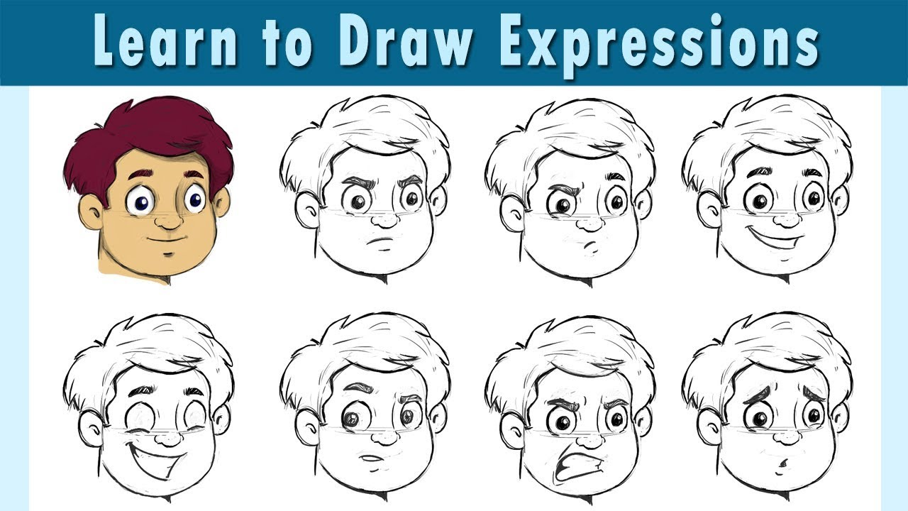 How To Draw Cartoon Expressions Basic Cartoon Expression Same Face Different Expressions Youtube