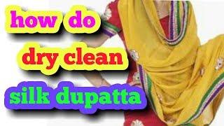 stain full silk dupatta dryclean. .seva  drycleaners pimpalner. Hindi