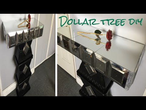 Dollar tree DIY/ Mirrored side table so glamorous!