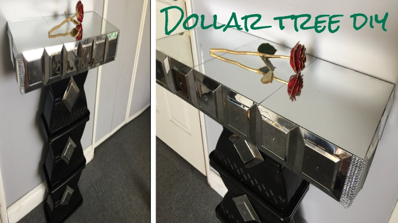 Dollar Tree Diy Mirrored Side Table So Glamorous Youtube