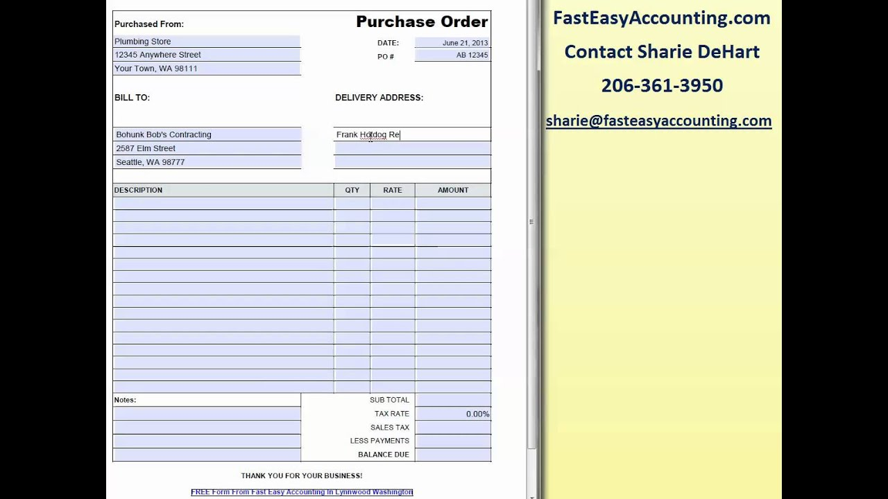 free contractor purchase order template by fast easy accounting