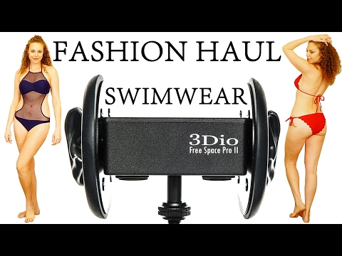 ASMR Whisper & 3Dio Ear Massage | Try On Swimwear, Heels & Fashion Haul by Zaful