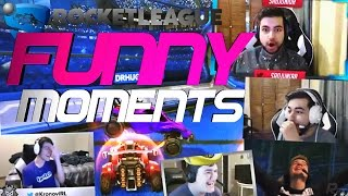 ROCKET LEAGUE FUNNY MOMENTS WITH PROS! (FUNNY REACTIONS, RUMBLE, FAILS & WINS!)