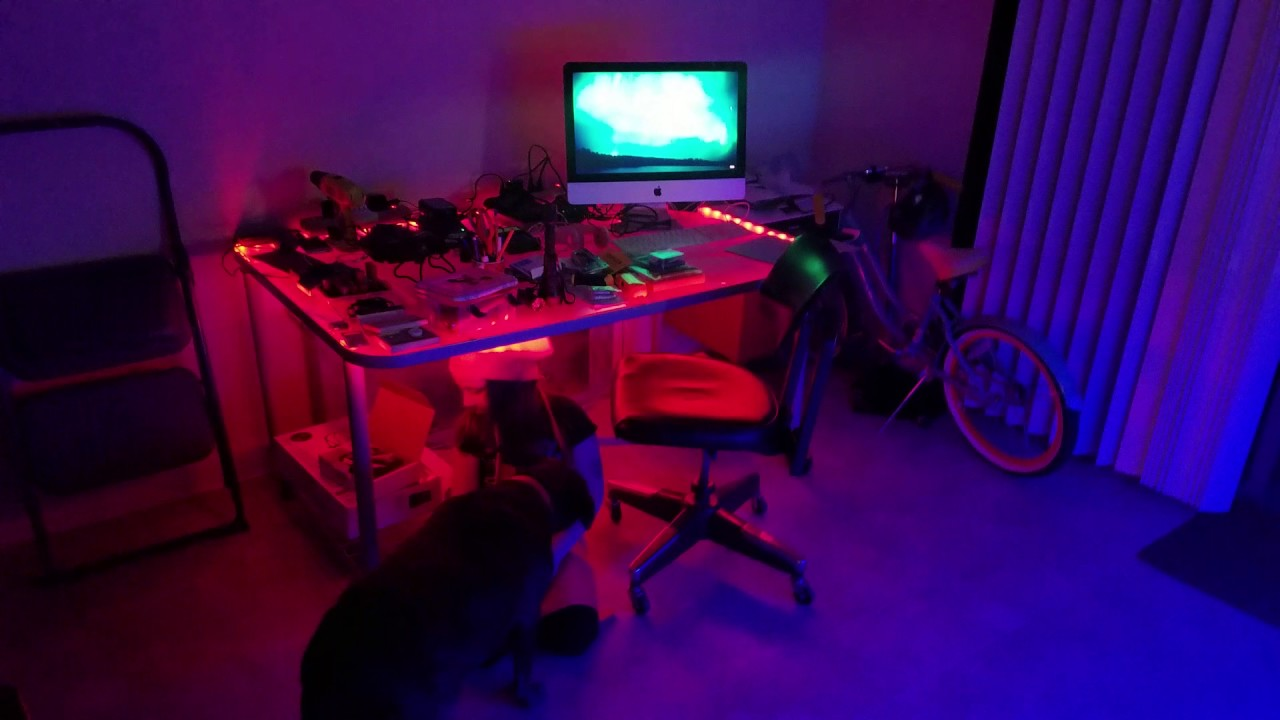 LED RGB Strip Lighting Under Glass Top Hobby Table