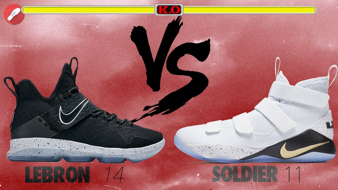 8e71a2ece0d0 Nike Lebron 14 vs Lebron Soldier 11 - YouTube