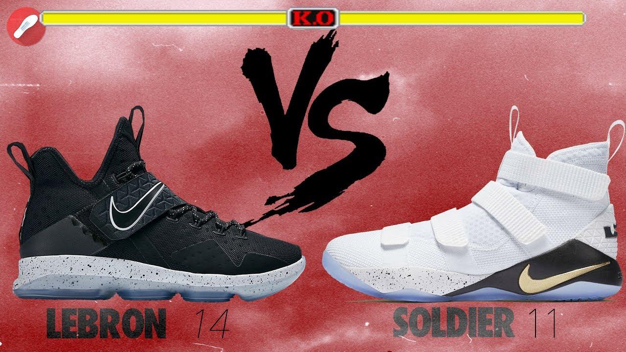 39ed2c9ea0e Nike Lebron 14 vs Lebron Soldier 11 - YouTube