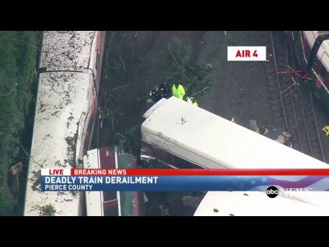 Train derails near Seattle, Washington: KOMO-TV Coverage | ABC News