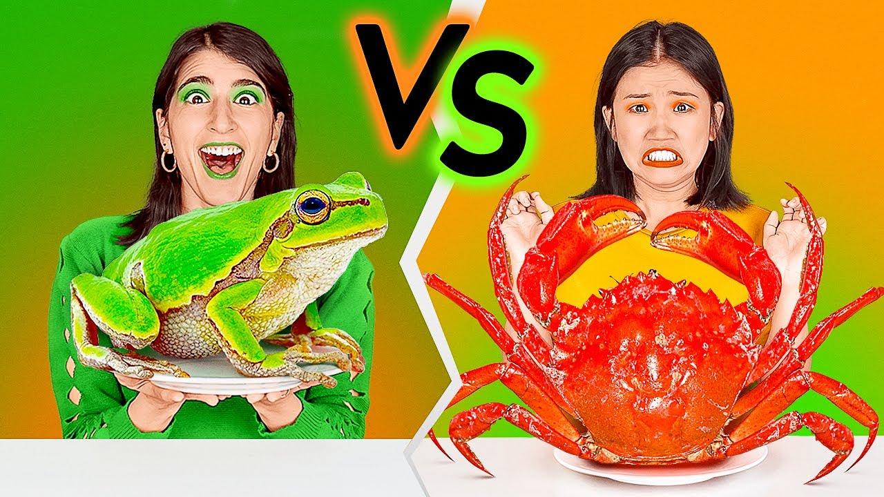 ชาเลนจ์อาหารสีส้ม vs สีเขียว! กินอาหารแค่สีเดียว โดย 123 GO! CHALLENGE