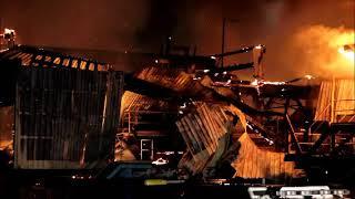 Raw video: Massive fire razes MacKenzie Sawmill in Surrey