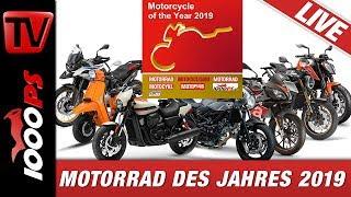 Motorrad des Jahres 2019 auf Messebühne Tulln - Mit Livestream