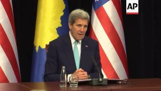 Kerry comments on arrival in Kosovo