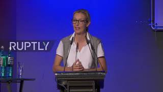 The new face of alternative for germany (afd) alice weidel delivered a speech at conference in duesseldorf on sunday as party launched its election cam...