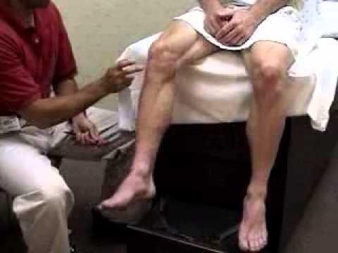 assessment - reflex exam - patellar reflex exam comparing normal, Skeleton