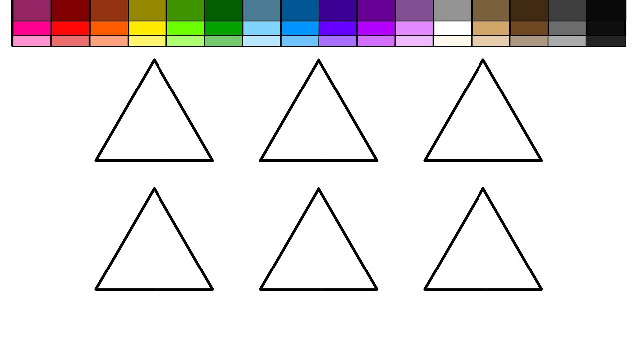 learn colors for kids and color triangle snowman coloring pages