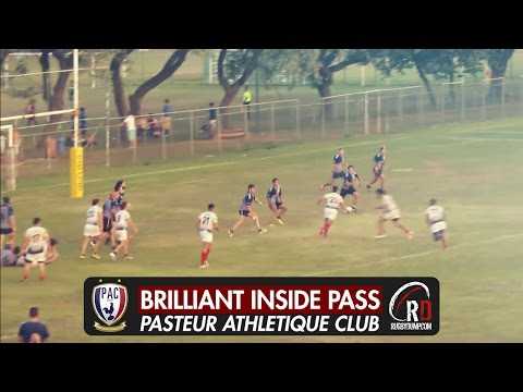 Brazilian players create a brilliant try from inside flick pass