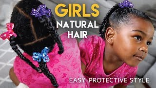 #GirlsCount | QUICK Protective Hairstyle For Girls - Natural Hair thumbnail