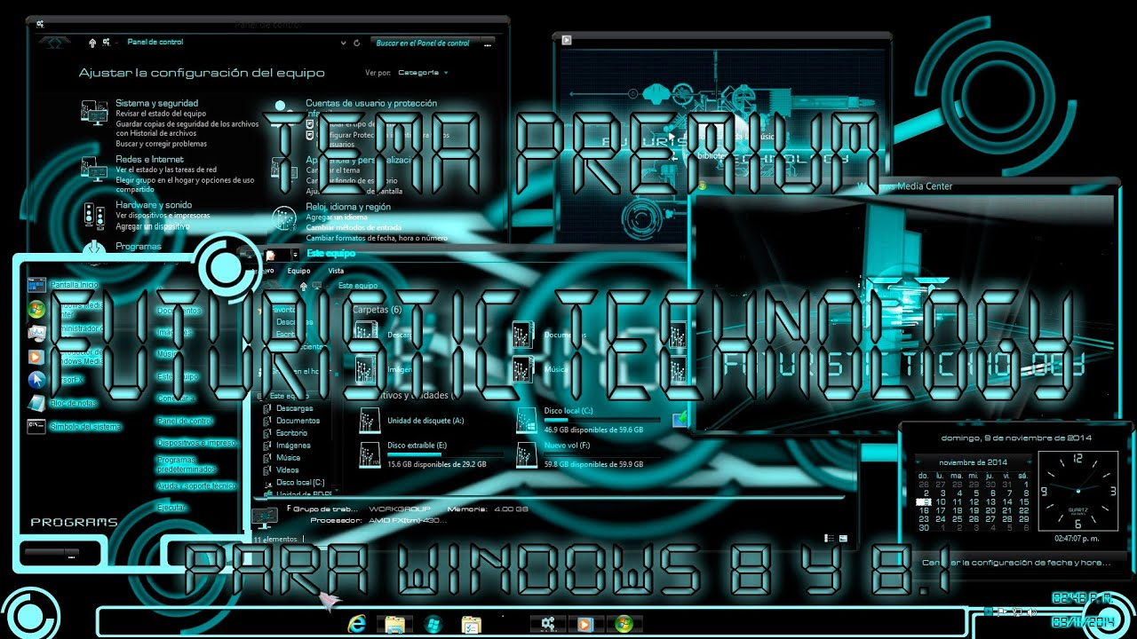 "Tema "" Futuristic Technology Premium "" para Windows 8 y 8"