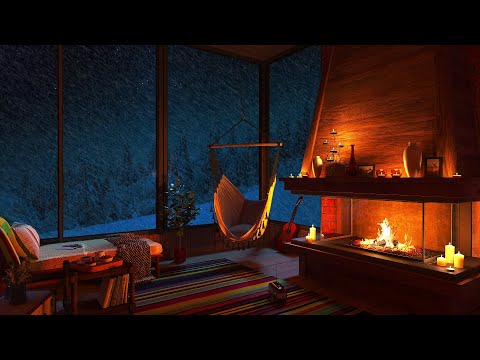 Relaxing Blizzard for Sleep   Snowstorm Sounds with Fireplace Crackling