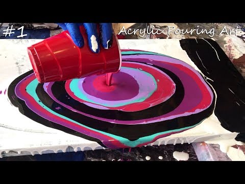 Acrylic Pouring Art (Purple,Blue,Black and Pink)